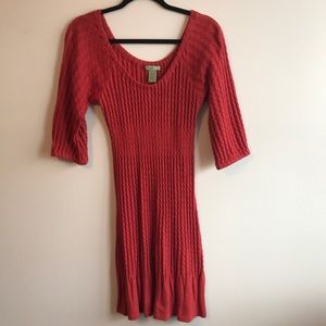 Anthropologie Angora Cotton Rust cable knit Dress